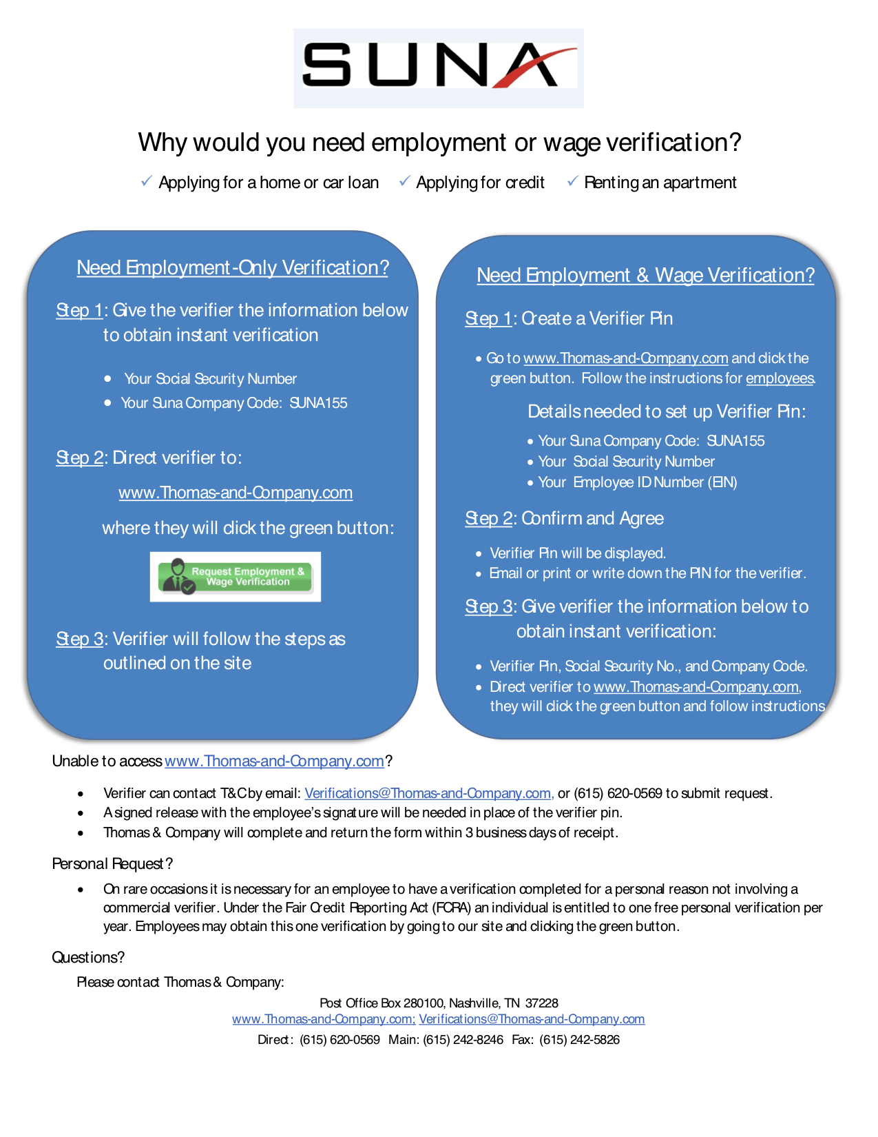 Employment or Wage Verification